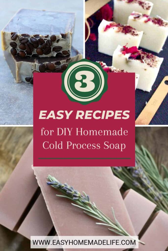 Make your own easy DIY cold process soap recipes and save money while treating yourself with beautiful, non-toxic homemade body soap!