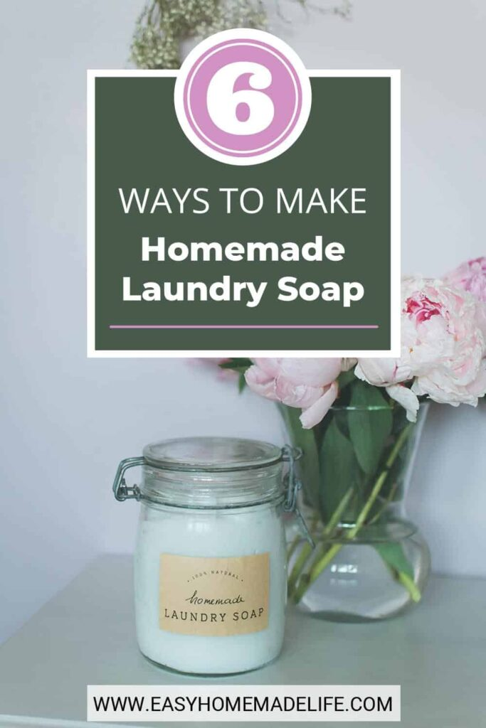 Make your own homemade laundry soap today! Whether you prefer powder, detergent tabs, crystals, or liquid soap, the ingredients are cheap, and the process is simple. With six choices to choose from, you will never be without a DIY laundry detergent recipe again!